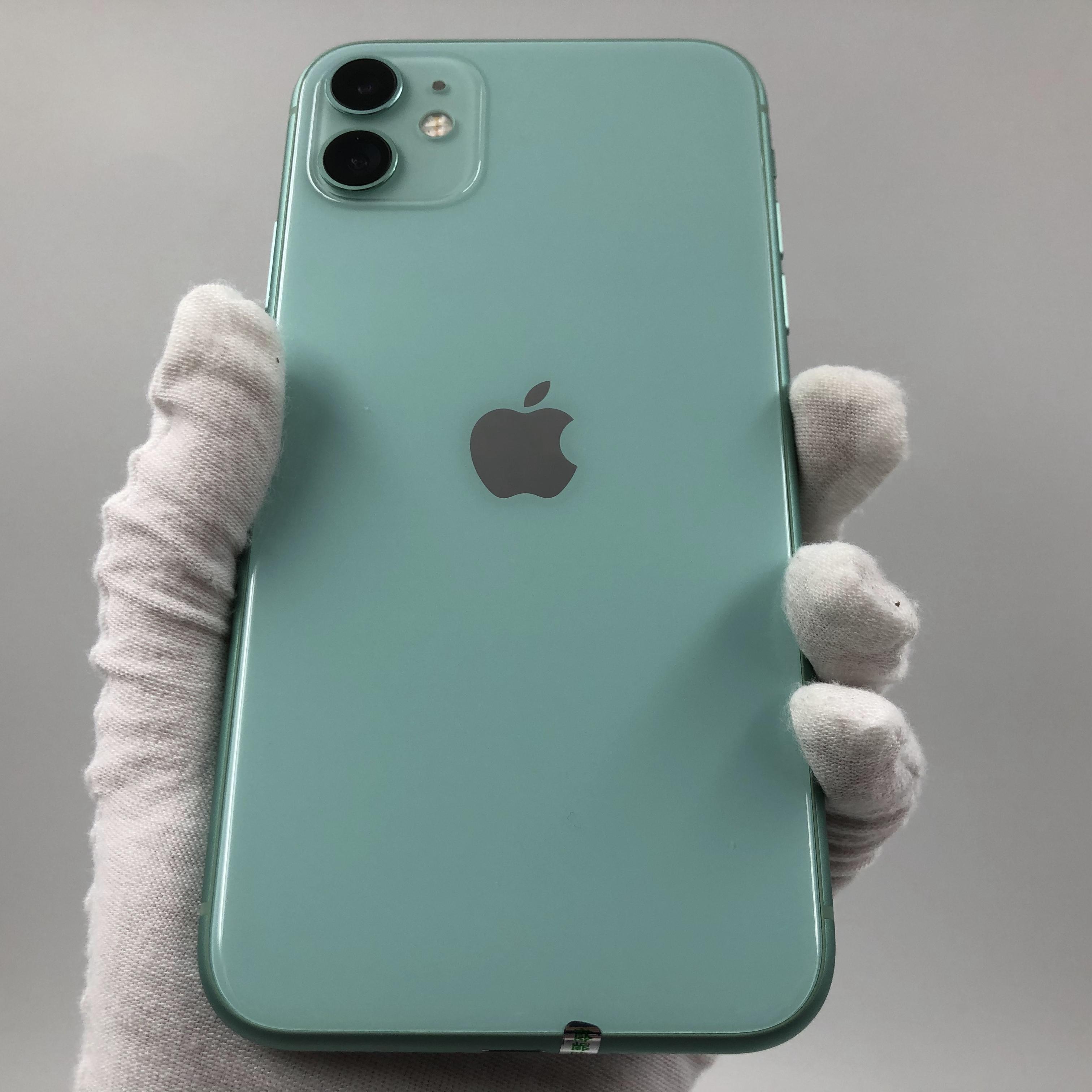 苹果【iPhone 11】4G全网通 绿色 128G 国行 8成新 真机实拍官保2021-08-19